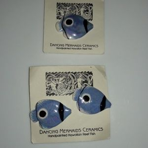 Ceramic Hawaiian Reef Fish Earring Pin Set